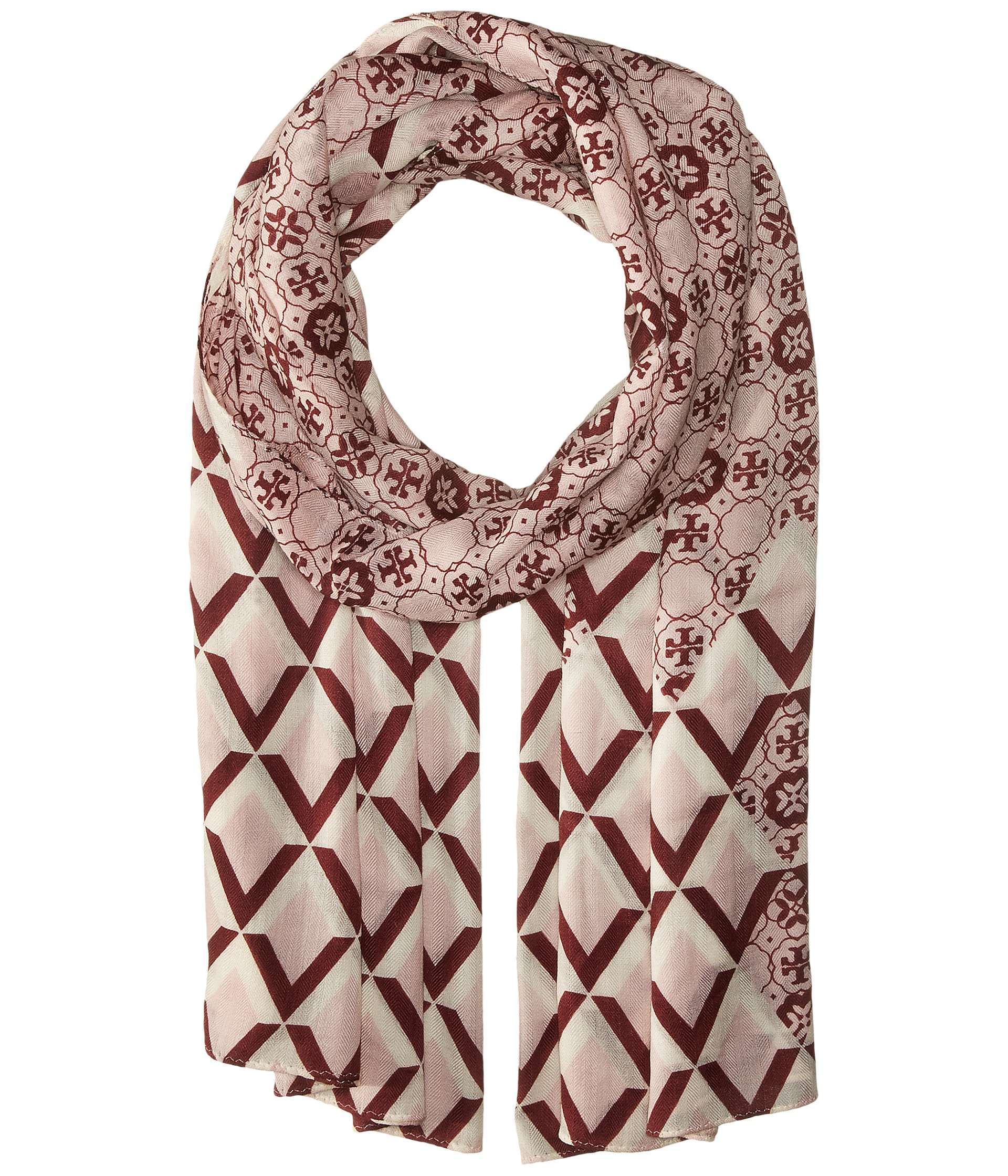 Tory Burch Logo Mosaic and Signature Print Oblong - Zappos.com Free ...