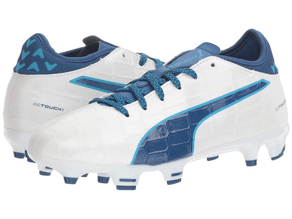 Puma Kids evoTOUCH 3 FG Jr (Little Kid/Big Kid) (Puma White/True Blue/Blue Danube) Boys Shoes