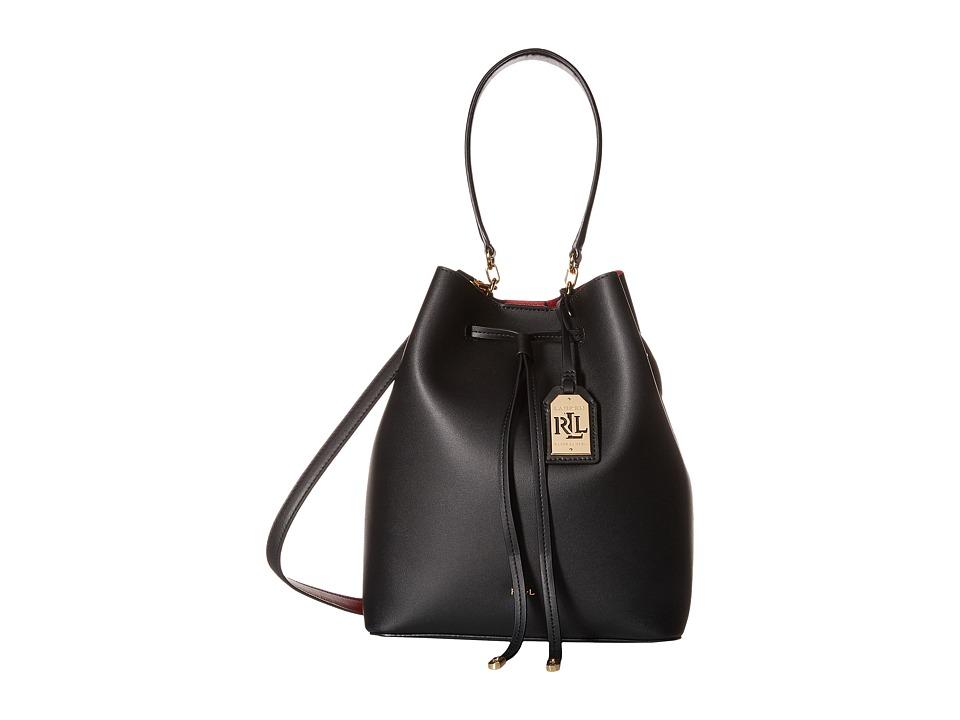 LAUREN Ralph Lauren - Dryden Debby Drawstring (Black/Crimson) Drawstring Handbags