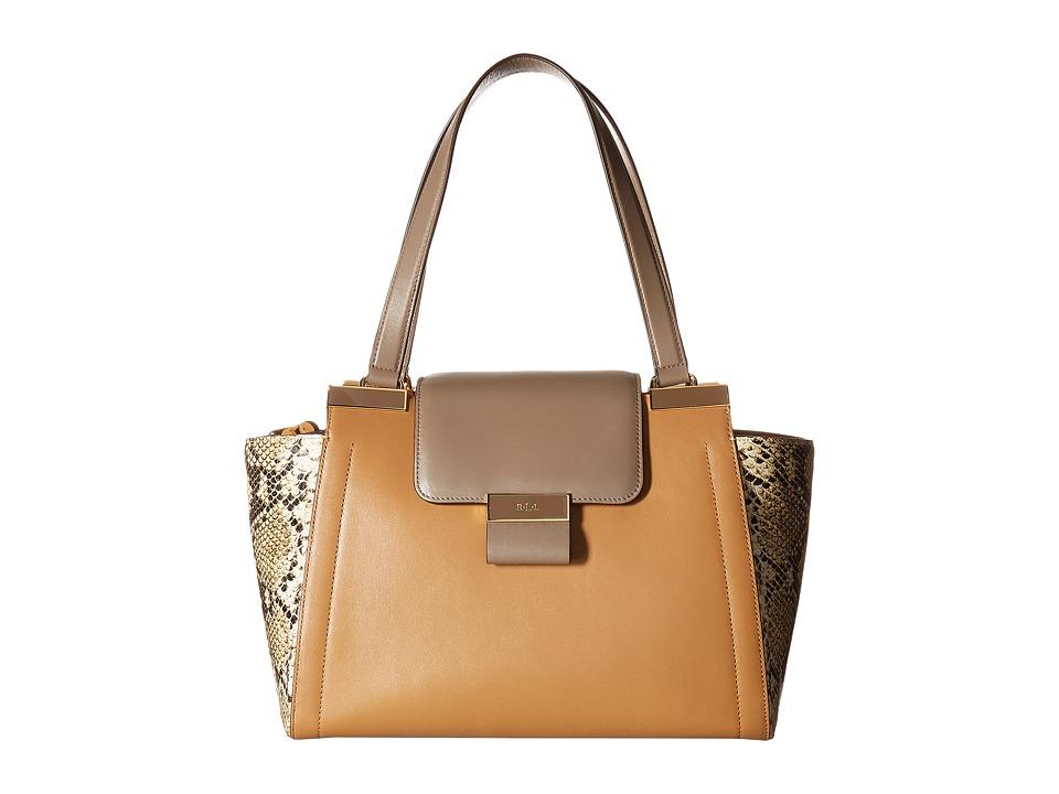 LAUREN Ralph Lauren - Lynwood Carine Shopper (Caramel/Truffle Multi) Handbags