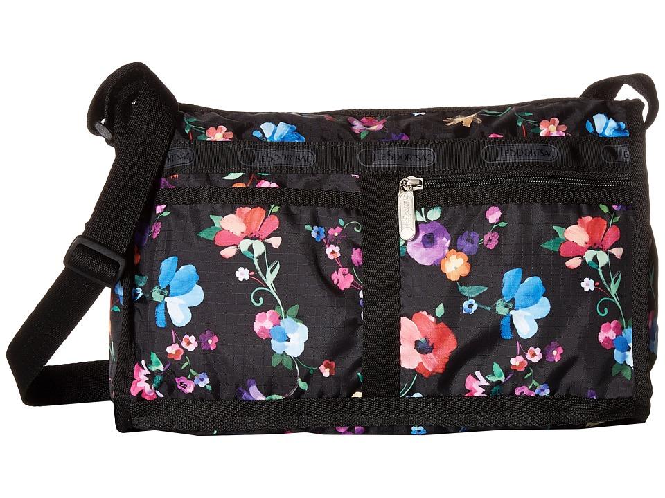 LeSportsac - Deluxe Shoulder Satchel (Impressionist Flower) Cross Body Handbags
