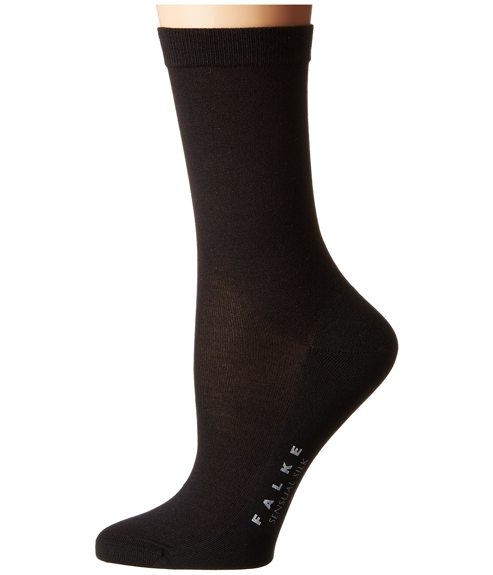 FALKE Sensual Silk Ankle (Black) Women's Crew Cut Socks S...