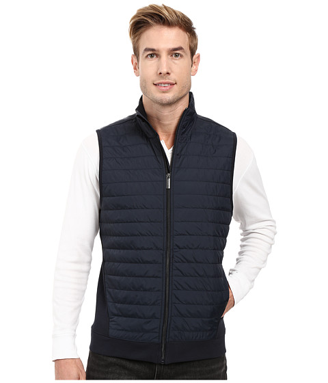 Perry Ellis Quilted Mix Media Knit Vest