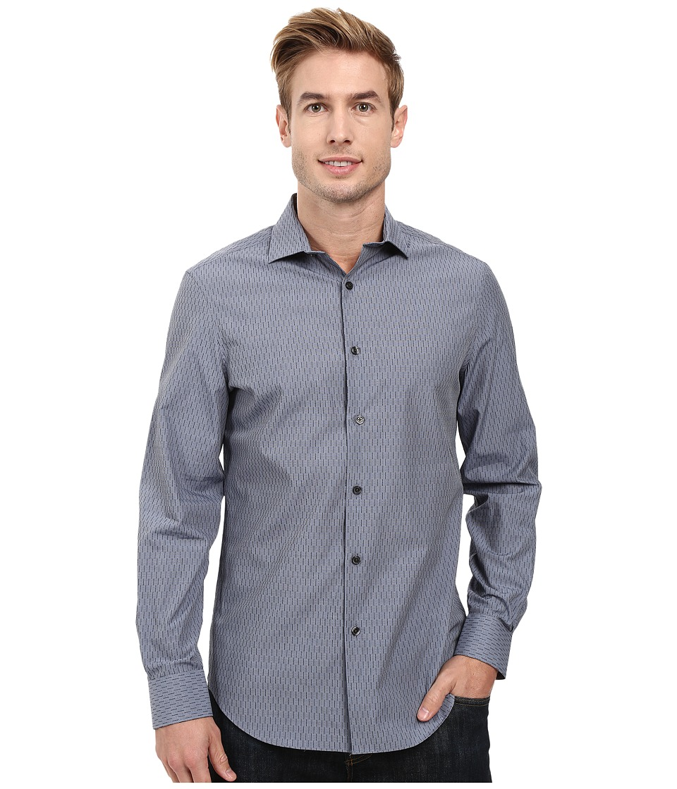 Perry Ellis - Regular Fit Textured Print Shirt (Dark Sapphire) Men