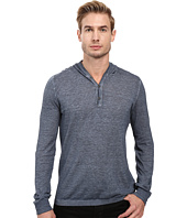 John Varvatos Star U.S.A. - Long Sleeve Pullover Button Hoodie Sweater with Contrast Linking Y1311S2B