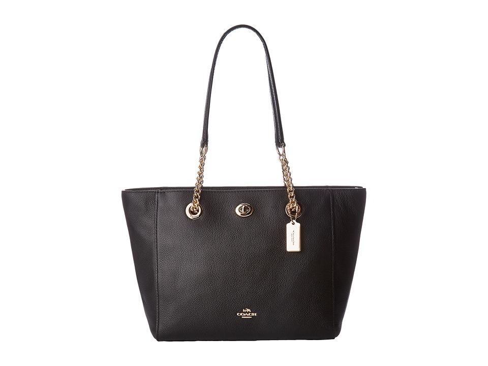 COACH - Pebbled Turnlock Chain Tote 27 (LI/Black) Tote Handbags