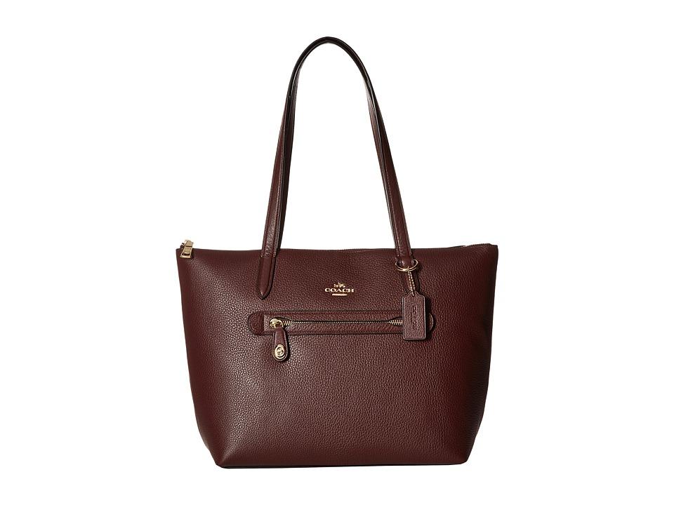 COACH - Pebbled Taylor Tote (LI/Oxblood) Tote Handbags