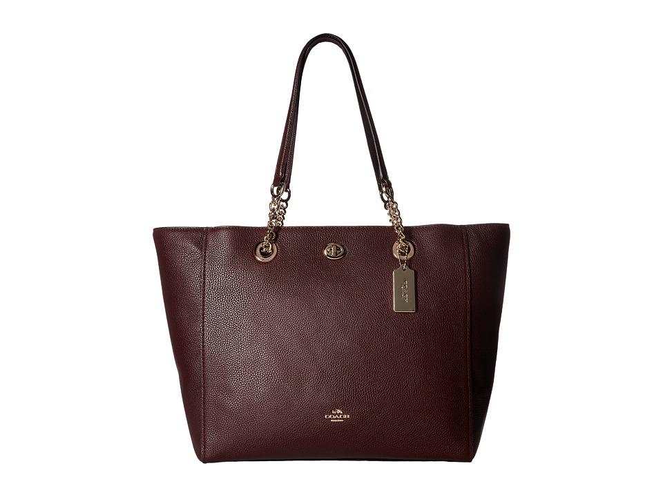 COACH - Pebbled Turnlock Chain Tote (LI/Oxblood) Tote Handbags