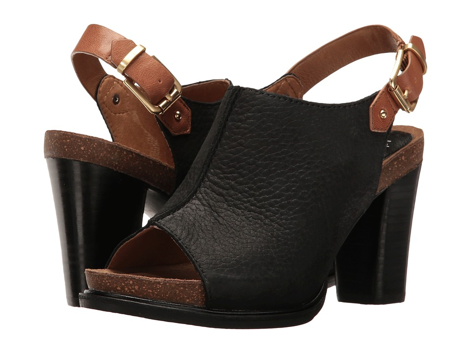 Sofft Cidra (Black/Cognac Buckley/Goat Vachetta) High Heels
