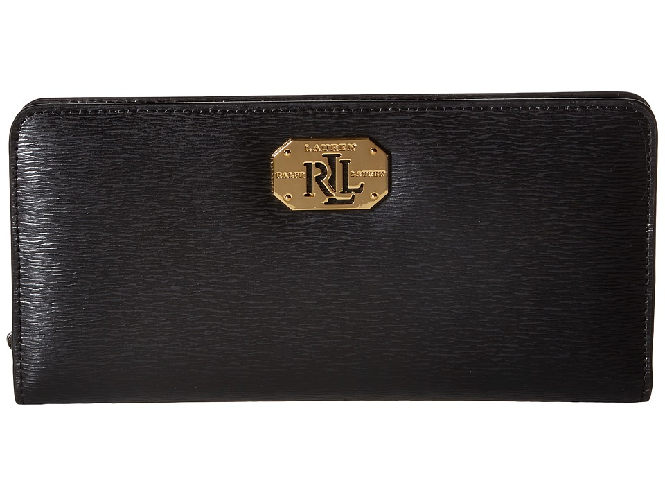 LAUREN Ralph Lauren - Newbury LRL Snap Continental Wallet (Black) Wallet Handbags