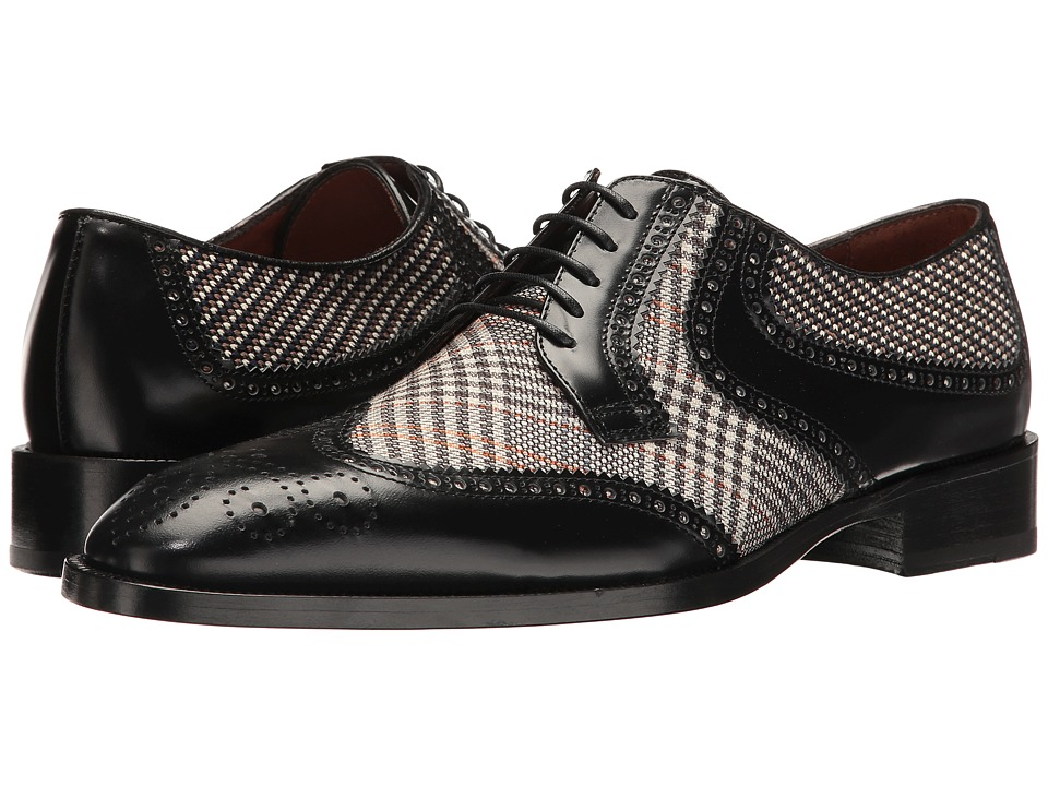 1950s Style Mens Shoes Etro - Wingtip Blucher Black Mens Lace Up Wing Tip Shoes $790.00 AT vintagedancer.com