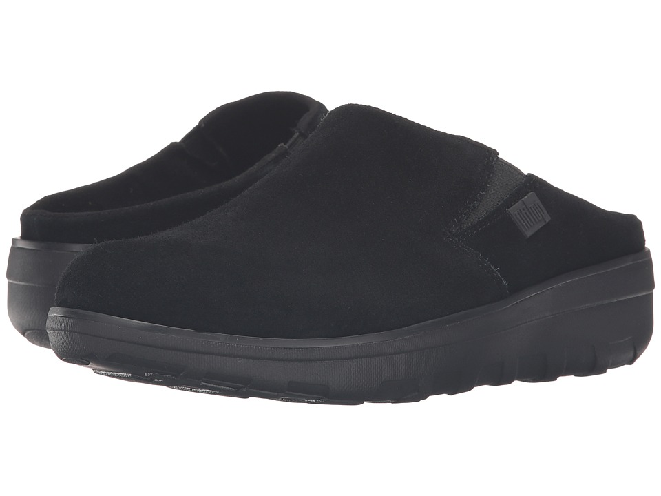FitFlop - Loaff Suede Clogs (Black) Womens  Shoes