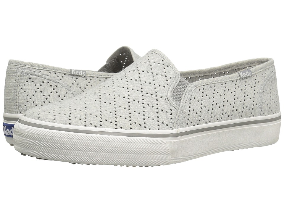 Keds Double Decker Perforated Canvas (Light Gray) Women