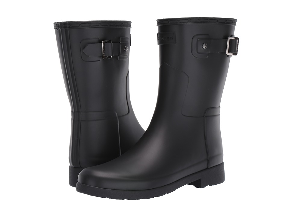 Hunter Original Refined Short Rain Boots (Black) Women