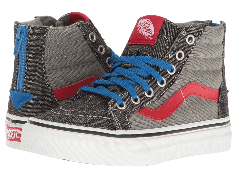 Vans Kids Sk8-Hi Zip (Little Kid/Big Kid) ((Jersey & Denim) Racing Red/True White) Boys Shoes