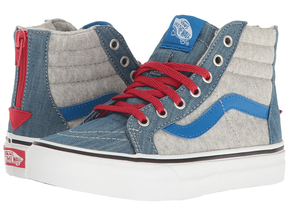 Vans Kids Sk8-Hi Zip (Little Kid/Big Kid) ((Jersey & Denim) Imperial Blue/True White) Boys Shoes