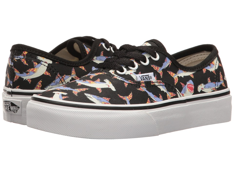 Vans Kids - Authentic (Little Kid/Big Kid) ((Pizza Sharks) Black/True White) Boys Shoes