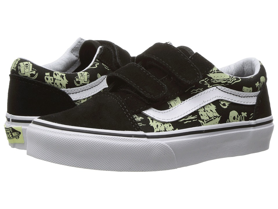 Vans Kids Old Skool V Glow (Little Kid/Big Kid) ((Glow Pirate) Black/True White) Boys Shoes