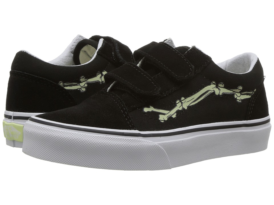 Vans Kids Old Skool V Glow (Little Kid/Big Kid) ((Glow Bones) Black/True White) Boys Shoes