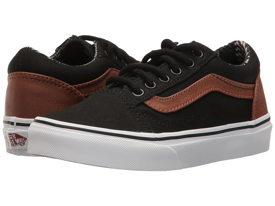 Vans Kids Old Skool (Little Kid/Big Kid) ((C&L) Black/Material Mix) Boys Shoes