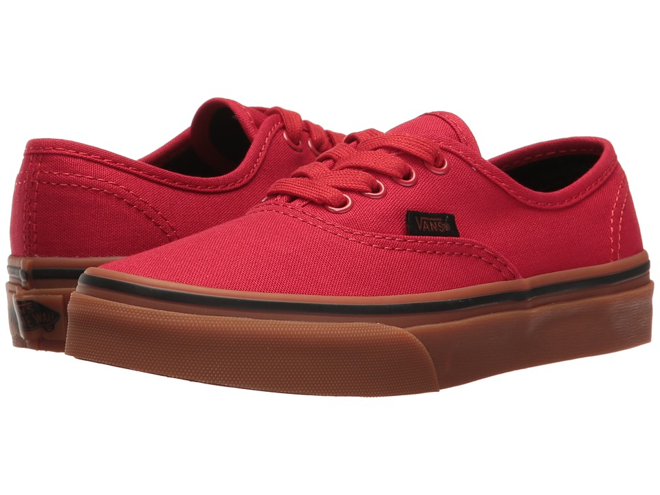 Vans Kids Authentic (Little Kid/Big Kid) ((Gum) Racing Red/Black) Boys Shoes