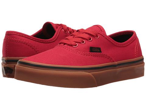 Vans Kids Authentic (Little Kid/Big Kid) - (Gum) Racing Red/Black