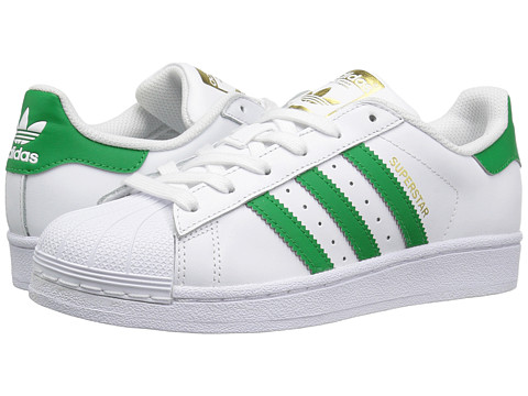 adidas Originals Kids Superstar (Big Kid) - Footwear White/Green/Gold Metallic