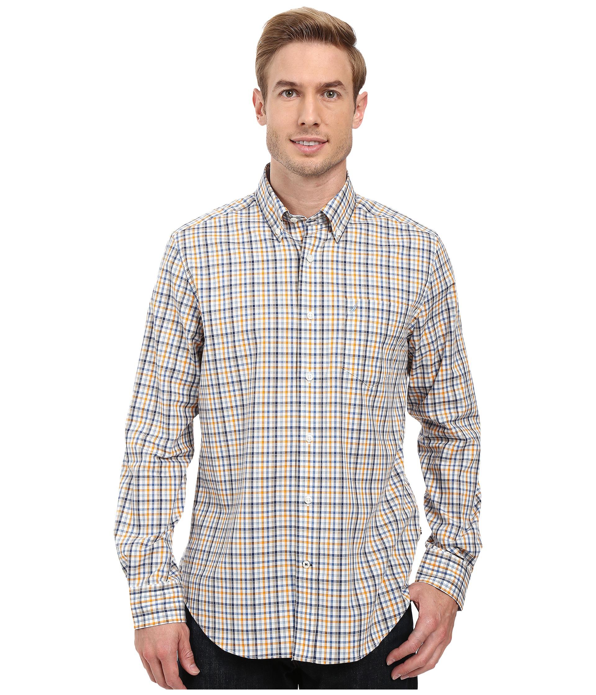 Nautica long sleeve wrinkle resistant medium plaid shirt for Wrinkle resistant dress shirts