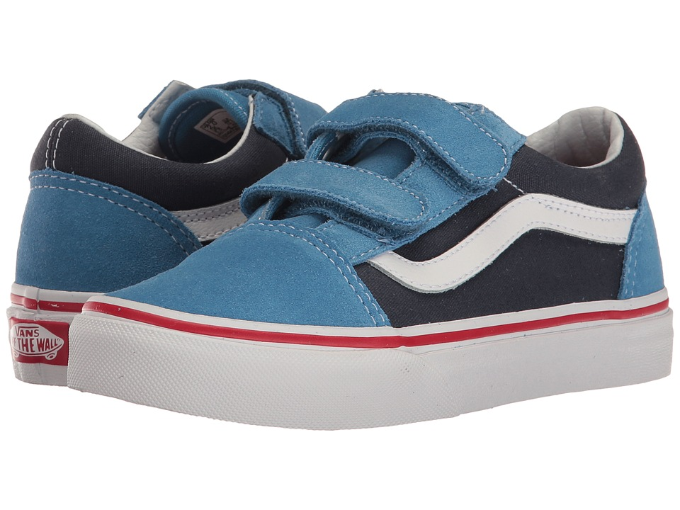 Vans Kids Old Skool V (Little Kid/Big Kid) ((Two-Tone) Cendre Blue/Parisian Night) Boys Shoes