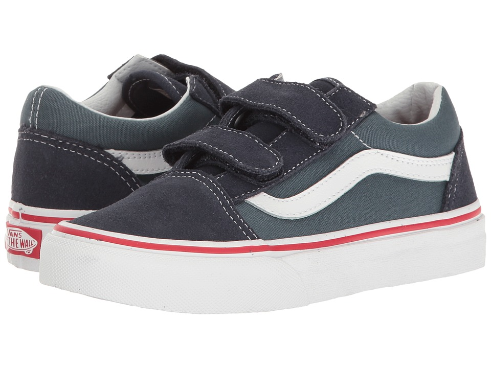 Vans Kids Old Skool V (Little Kid/Big Kid) ((Two-Tone) Parisian Night/Dark Slate) Boys Shoes