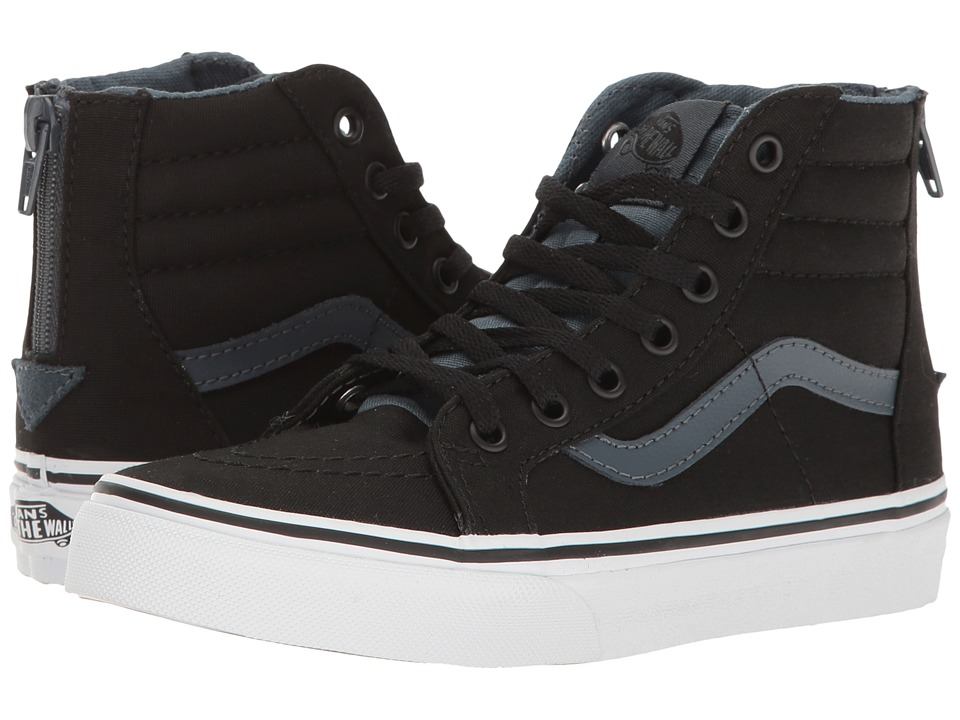 Vans Kids Sk8-Hi Zip (Little Kid/Big Kid) ((Canvas) Black/Dark Slate) Boys Shoes
