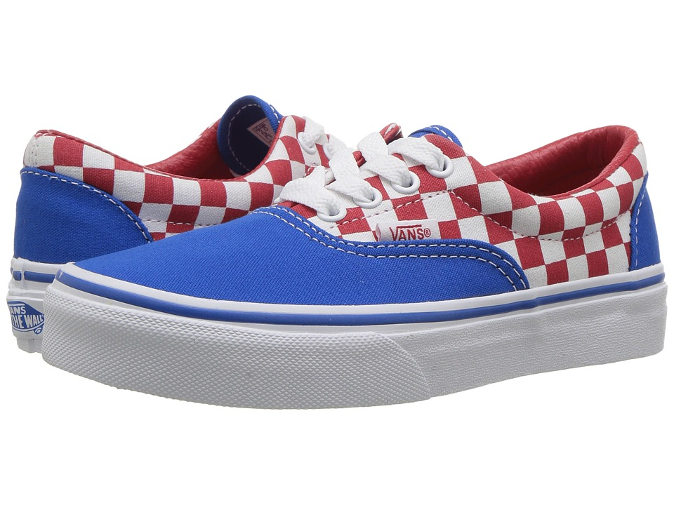 Vans Kids Era (Little Kid/Big Kid) ((Checkerboard) Racing Red/Imperial Blue) Boys Shoes