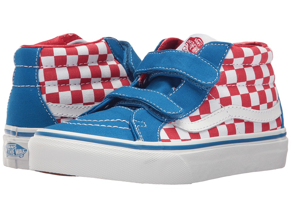 Vans Kids SK8-Mid Reissue V (Little Kid/Big Kid) ((Checkerboard) Racing Red/Imperial Blue) Boys Shoes