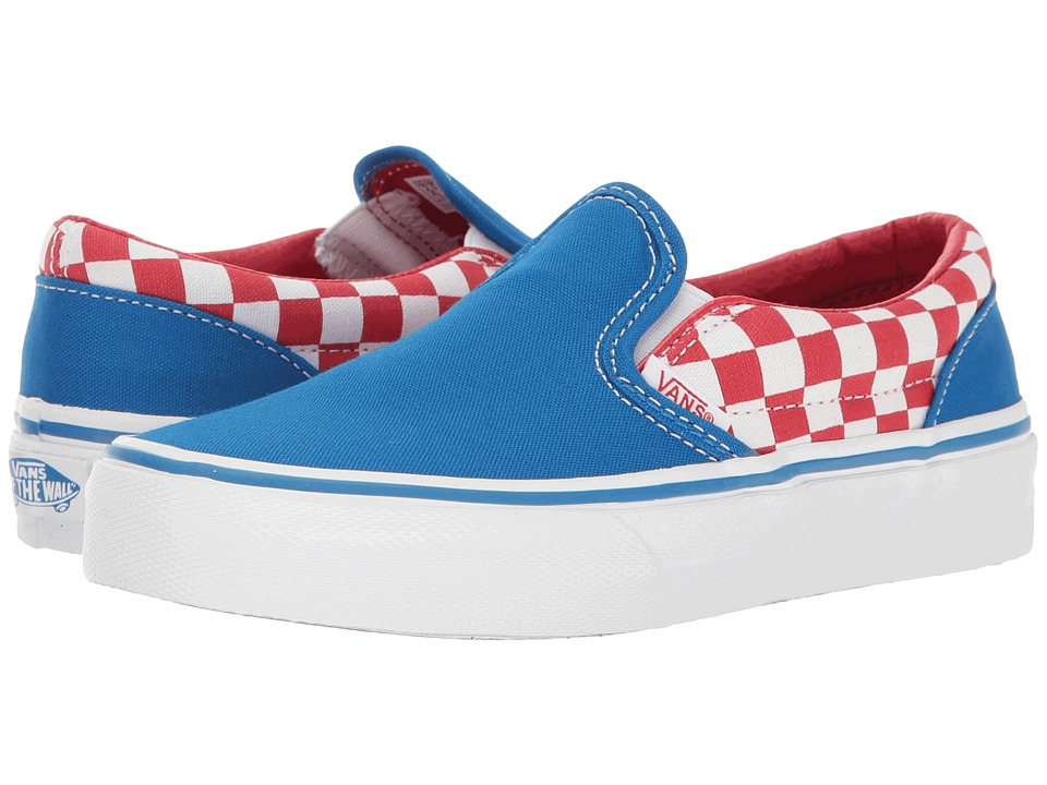 Vans Kids Classic Slip-On (Little Kid/Big Kid) ((Checkerboard) Racing Red/Imperial Blue) Boys Shoes