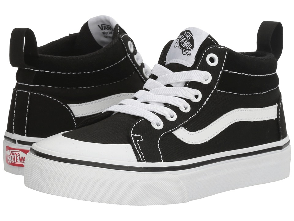 Vans Kids Racer Mid (Little Kid/Big Kid) ((Canvas) Black/True White) Boys Shoes