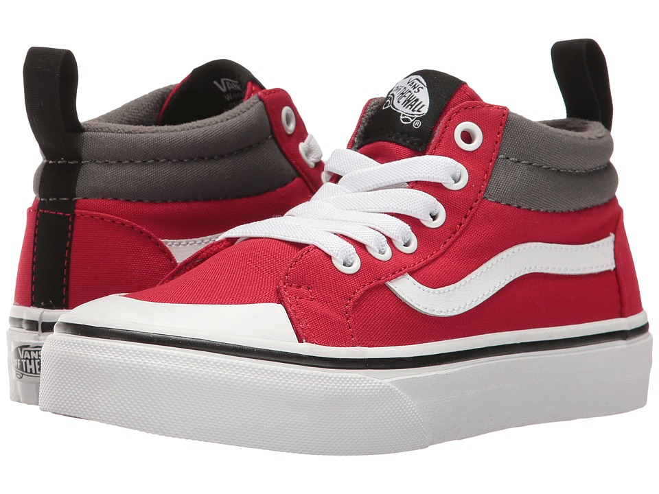 Vans Kids Racer Mid (Little Kid/Big Kid) ((Canvas) Racing Red/Pewter) Boys Shoes