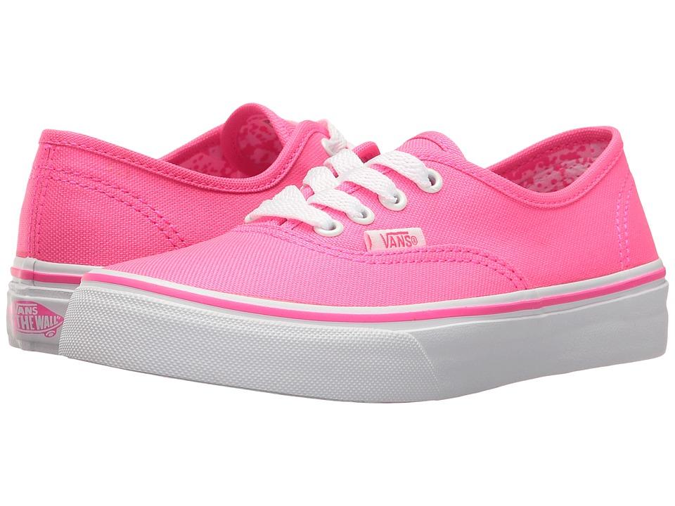Vans Kids Authentic (Little Kid/Big Kid) ((Neon Splatter) Neon Pink/True White) Girls Shoes