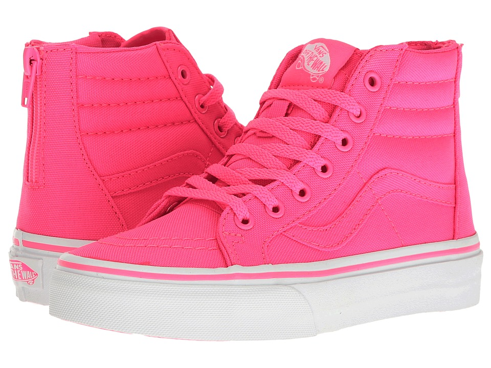Vans Kids - Sk8-Hi Zip (Little Kid/Big Kid) ((Neon Canvas) Pink/True White) Girls Shoes