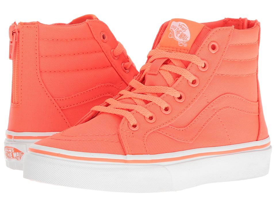 Vans Kids Sk8-Hi Zip (Little Kid/Big Kid) ((Neon Canvas) Coral/True White) Girls Shoes