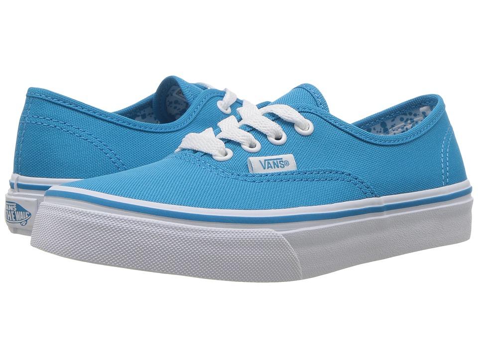 Vans Kids Authentic (Little Kid/Big Kid) ((Neon Splatter) Neon Blue/True White) Girls Shoes