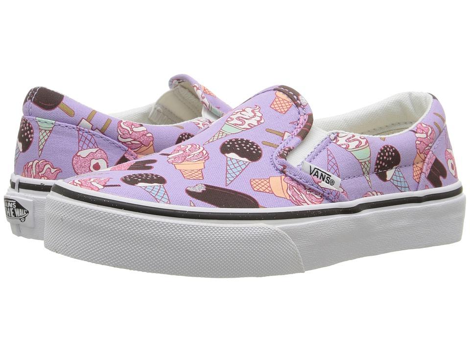 Vans Kids Classic Slip-On (Little Kid/Big Kid) ((Glitter Ice Cream) Lavender/True White) Girls Shoes