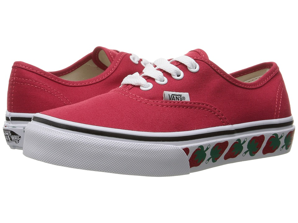 Vans Kids Authentic (Little Kid/Big Kid) ((Strawberry Tape) Red/Black) Girls Shoes