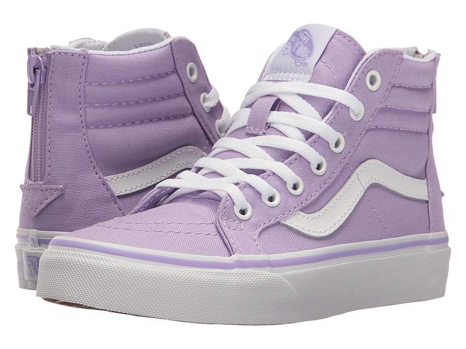 Vans Kids Sk8-Hi Zip (Little Kid/Big Kid) (Lavender/True White) Girls Shoes