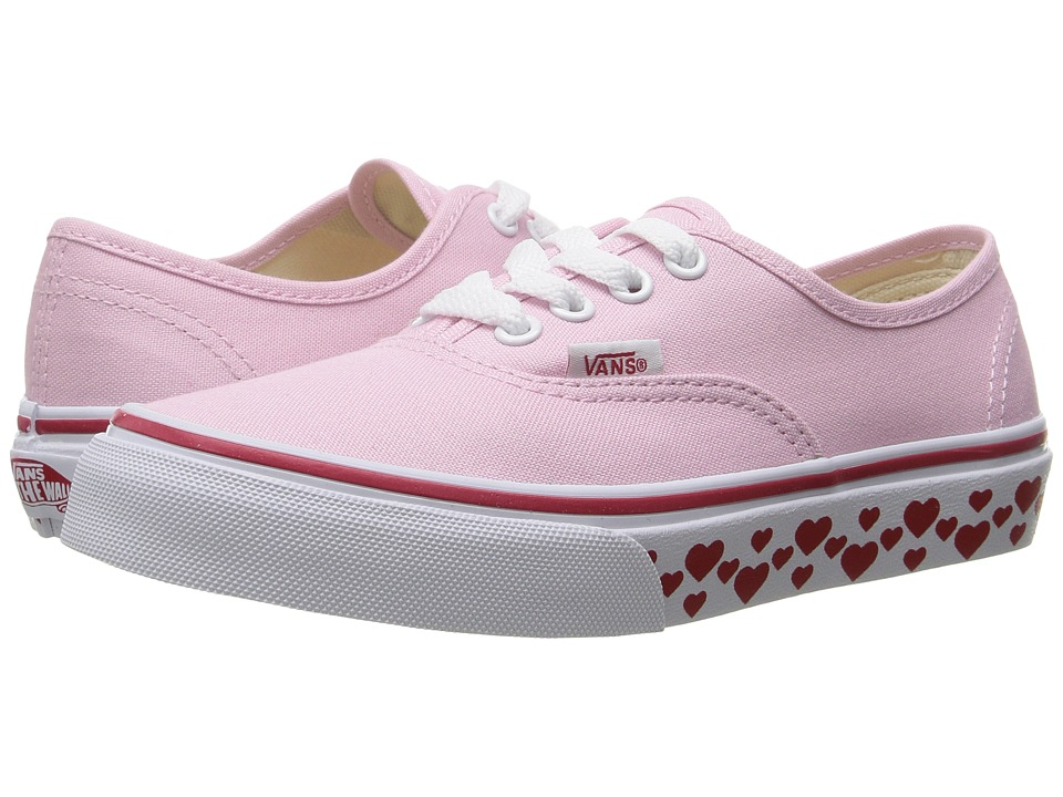 Vans Kids Authentic (Little Kid/Big Kid) ((Hearts Tape) Pink Lady/Red) Girls Shoes