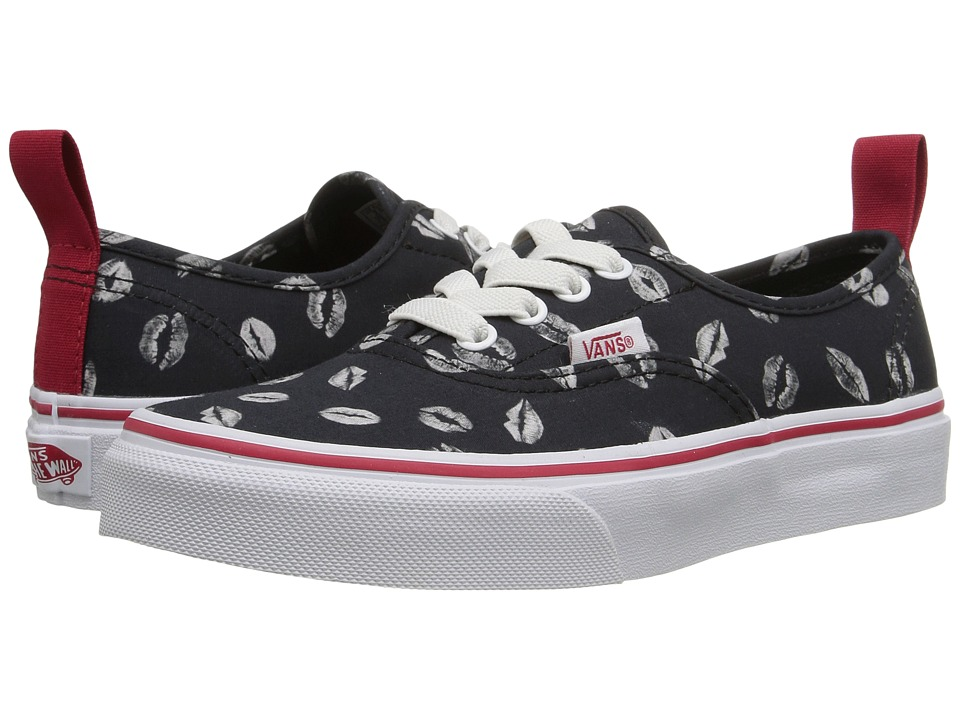 Vans Kids - Authentic Elastic Lace (Little Kid/Big Kid) ((Valentines) Black/Racing Red) Girls Shoes