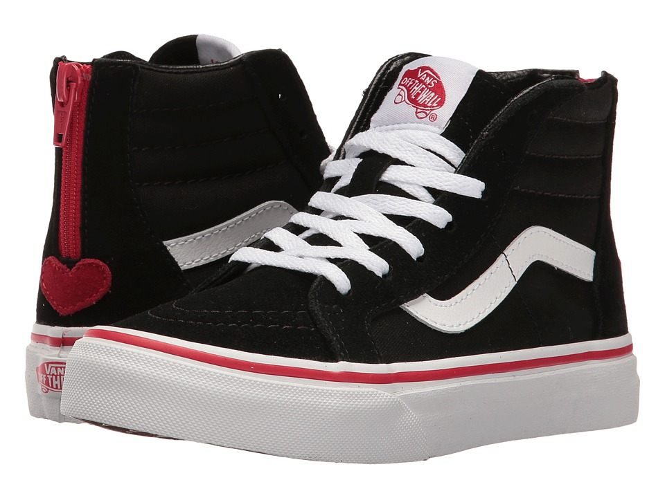 Vans Kids Sk8-Hi Zip (Little Kid/Big Kid) ((Valentines) Black/Racing Red) Girls Shoes