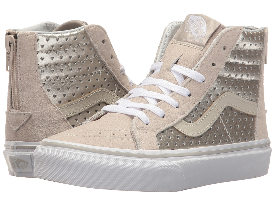 Vans Kids Sk8-Hi Zip (Little Kid/Big Kid) ((Metallic Heart Perf) Silver) Girls Shoes