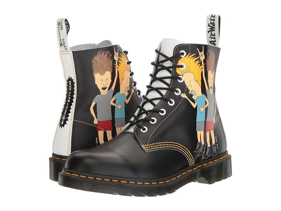 Dr. Martens Beavis and Butt-Head Pascal (Black/White B&B Smooth/Backhand) Boots