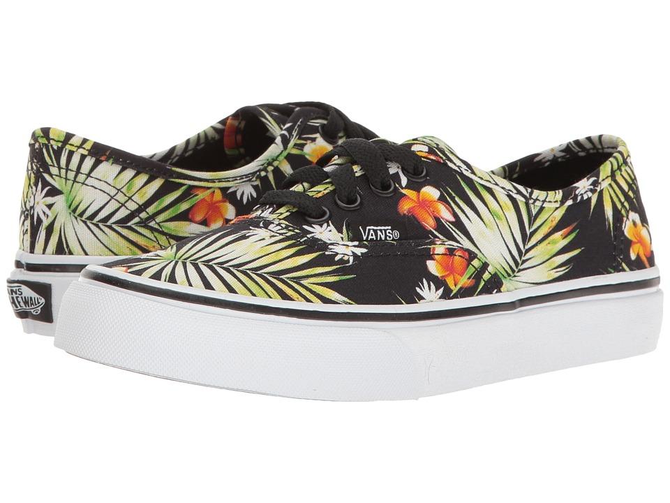 Vans Kids Authentic (Little Kid/Big Kid) ((Decay Palms) Black/True White) Girls Shoes