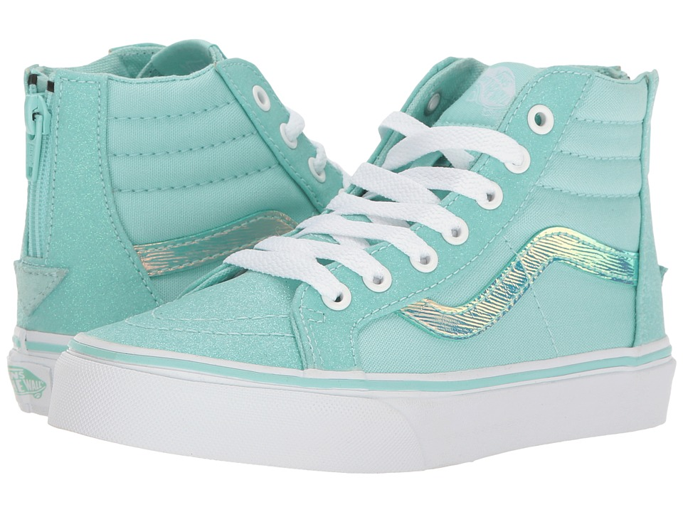 Vans Kids Sk8-Hi Zip (Little Kid/Big Kid) ((Glitter & Iridescent) Blue/True White) Girls Shoes